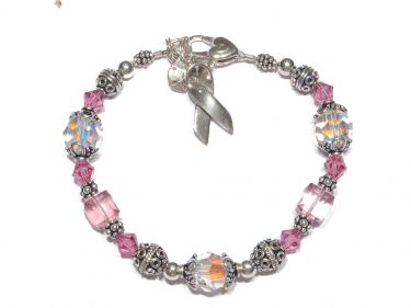 Pink Swarovski Breast Cancer Bracelet  © Contemplation Marks