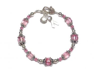 Pink Venetian Breast Cancer Bracelet  © Contemplation Marks