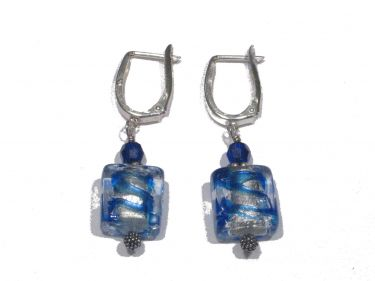 Cobalt Aquamarine Swirl Earrings © Contemplation Marks