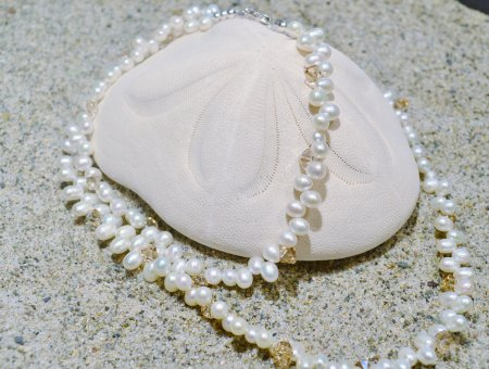 Freshwater Pearl and Swarovski Necklace © Contemplation Marks